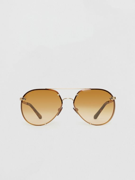 Check Detail Pilot Sunglasses in Brown