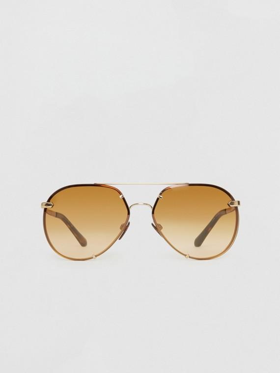 Óculos de sol com armação aviador e detalhe xadrez (Marrom)