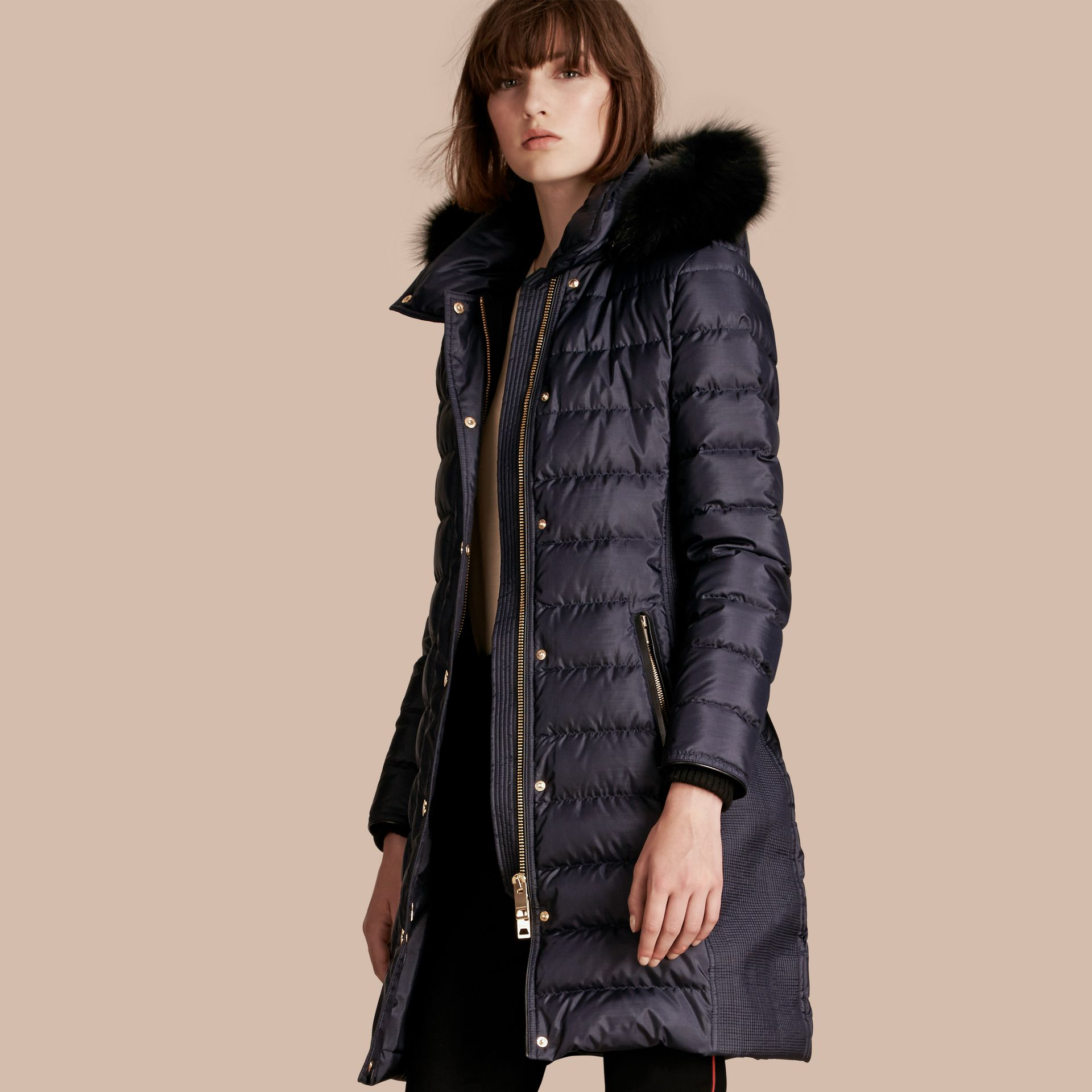 Navy Down-filled Coat with Fur-trimmed Hood Navy - gallery image 1