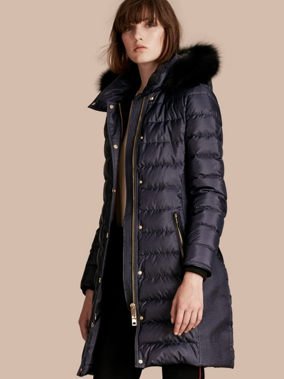 Down-filled Coat with Fur-trimmed Hood Navy