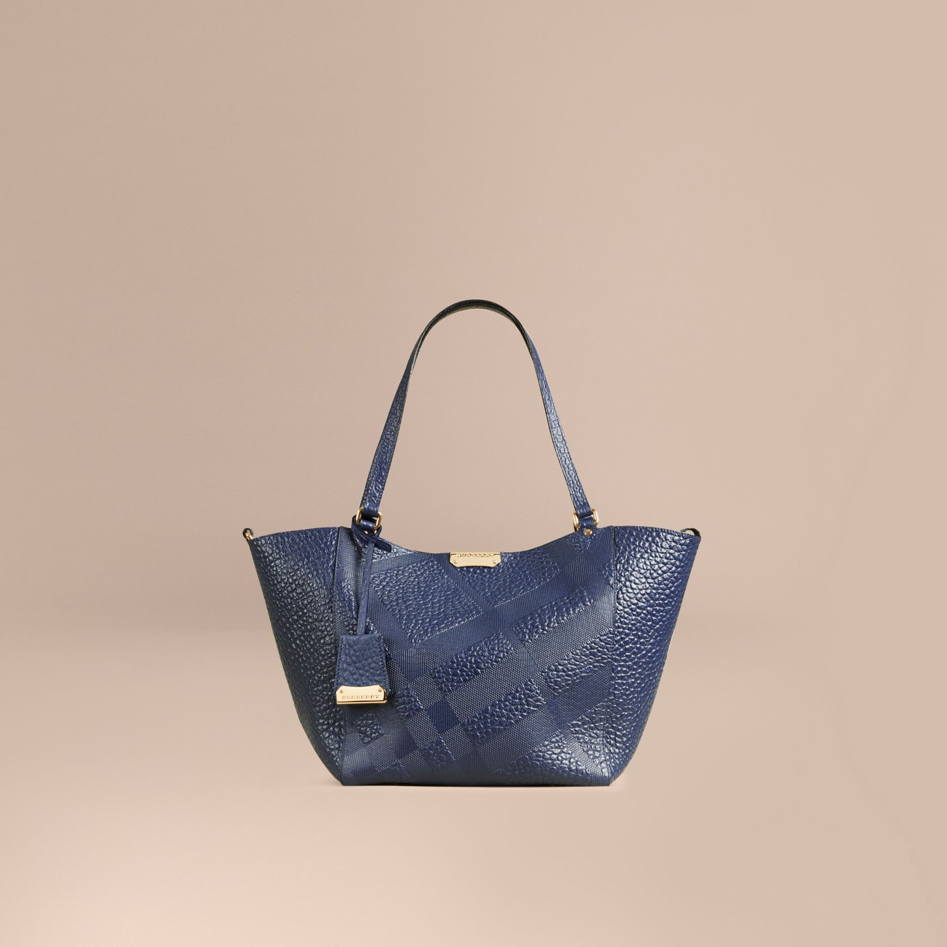 Blue carbon The Small Canter in Check Embossed Leather Blue Carbon - gallery image 1
