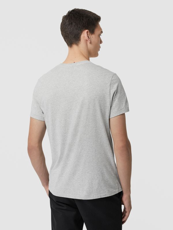 Cotton Jersey T-shirt in Pale Grey Melange - Men | Burberry - cell image 2