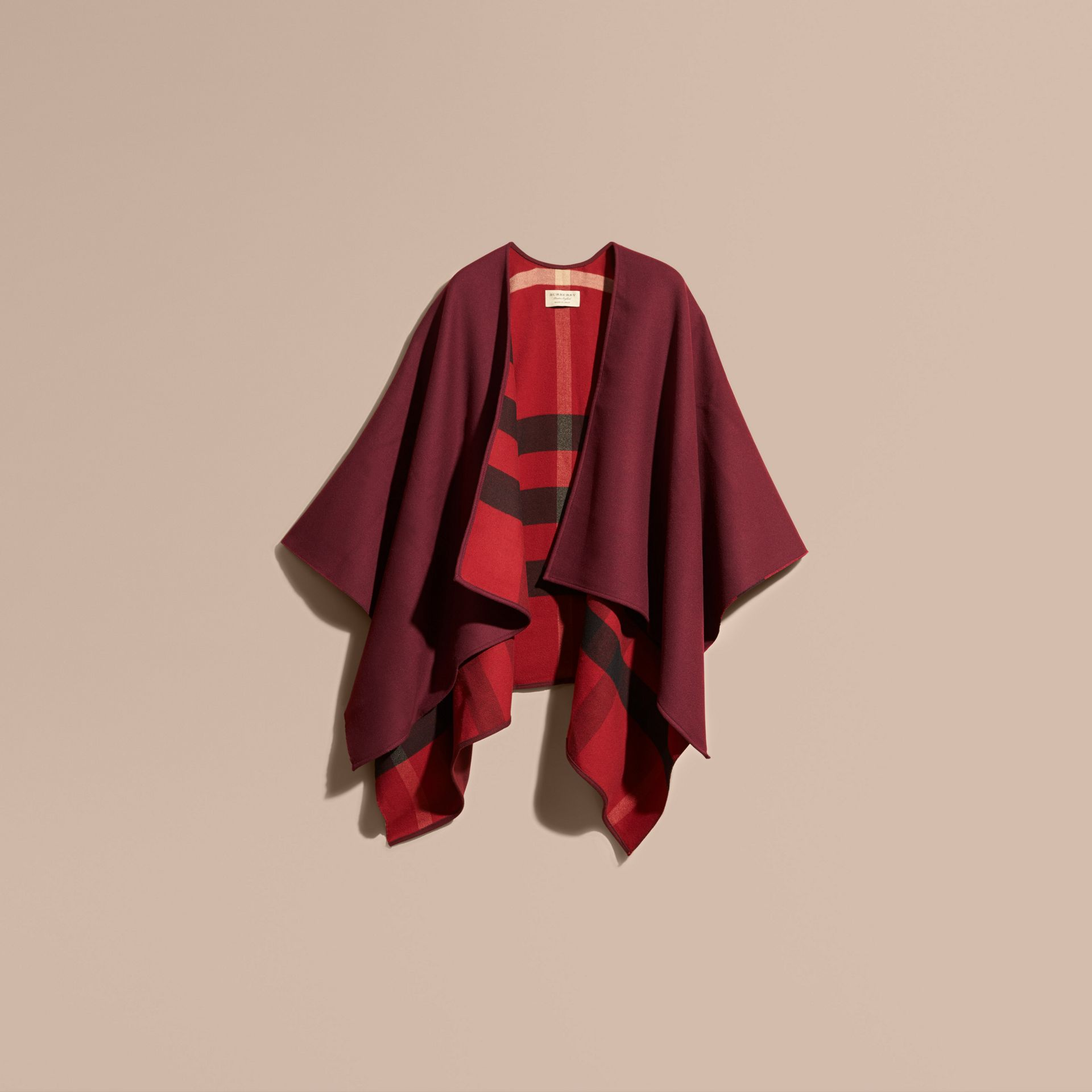 Reversible Check Merino Wool Poncho Parade Red - gallery image 4