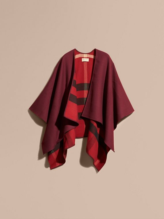 Reversible Check Merino Wool Poncho in Parade Red - cell image 3