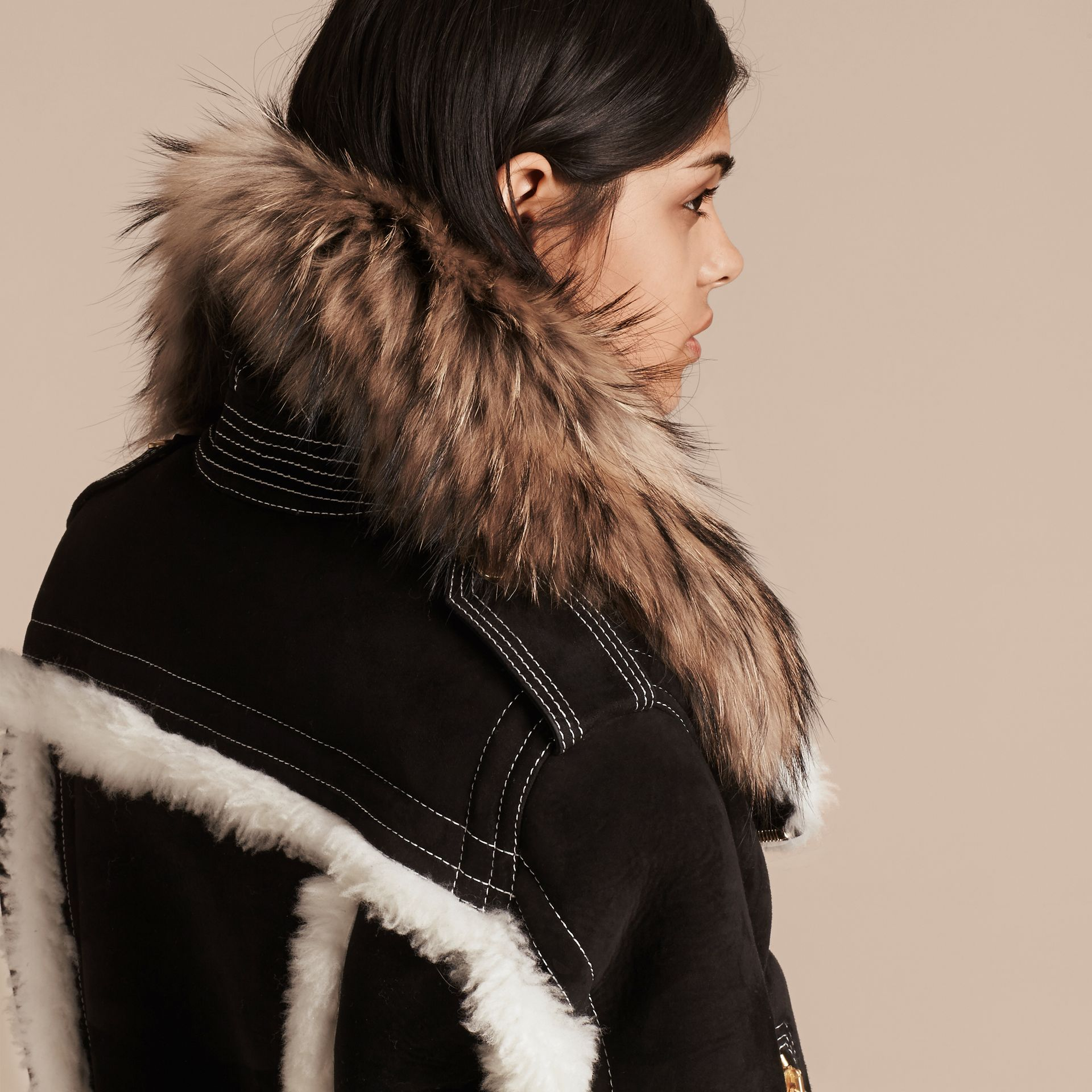 Black Suede and Shearling Aviator Jacket with Raccoon Fur Collar - gallery image 5