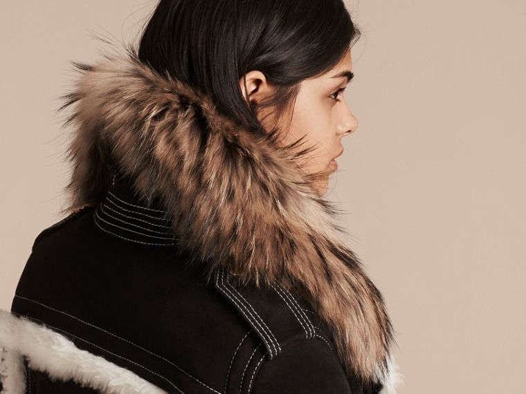 Black Suede and Shearling Aviator Jacket with Raccoon Fur Collar - cell image 4