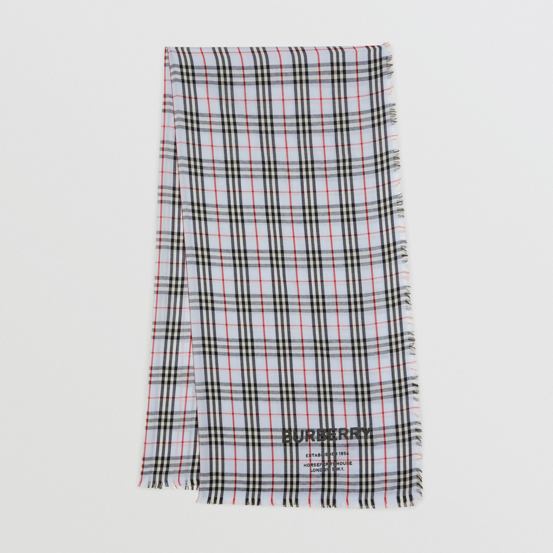 Embroidered Vintage Check Lightweight Cashmere Scarf in Pale Blue | Burberry United Kingdom - gallery image 0