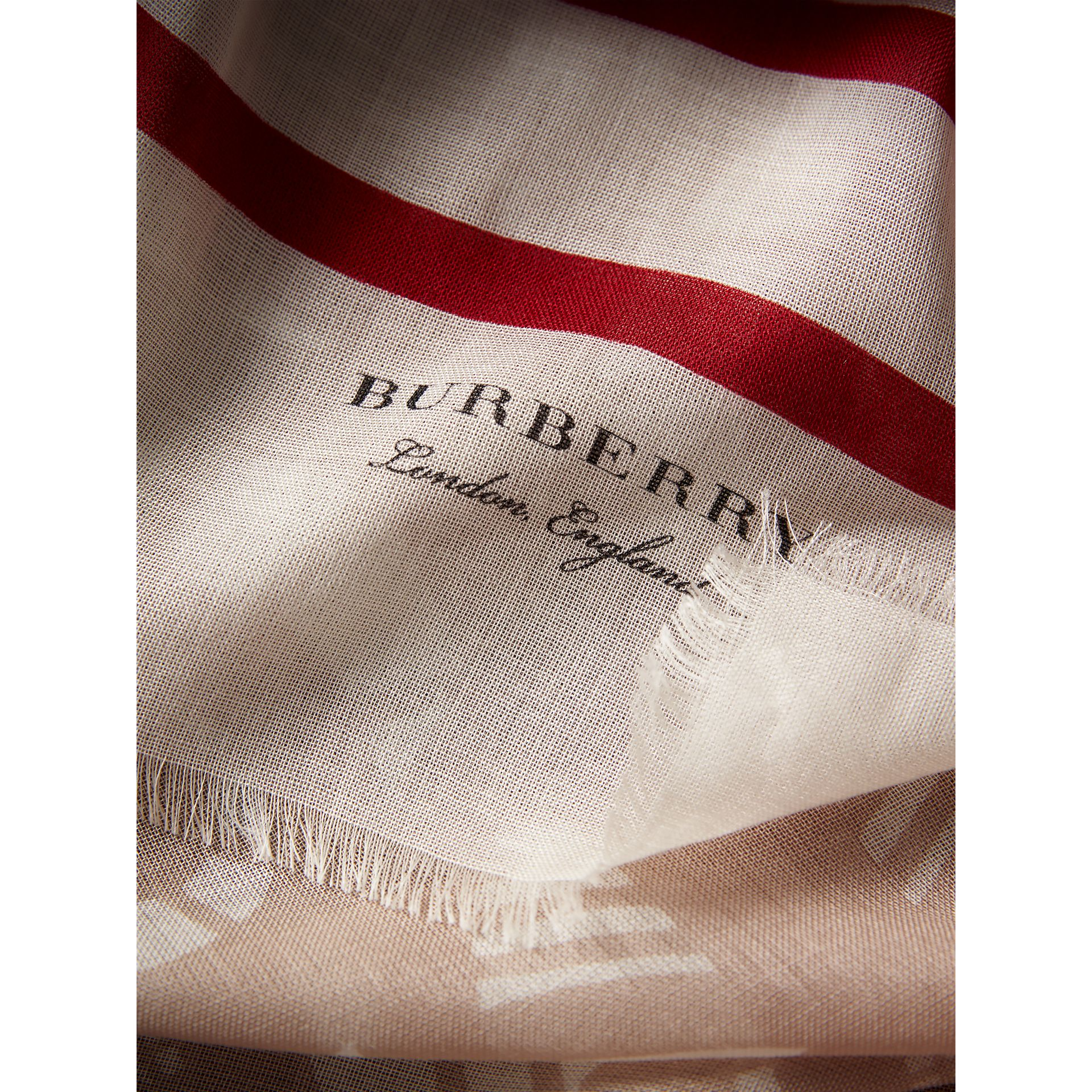 Lace and Breton Stripe Print Cashmere Silk Scarf in Natural White - Women | Burberry - gallery image 2