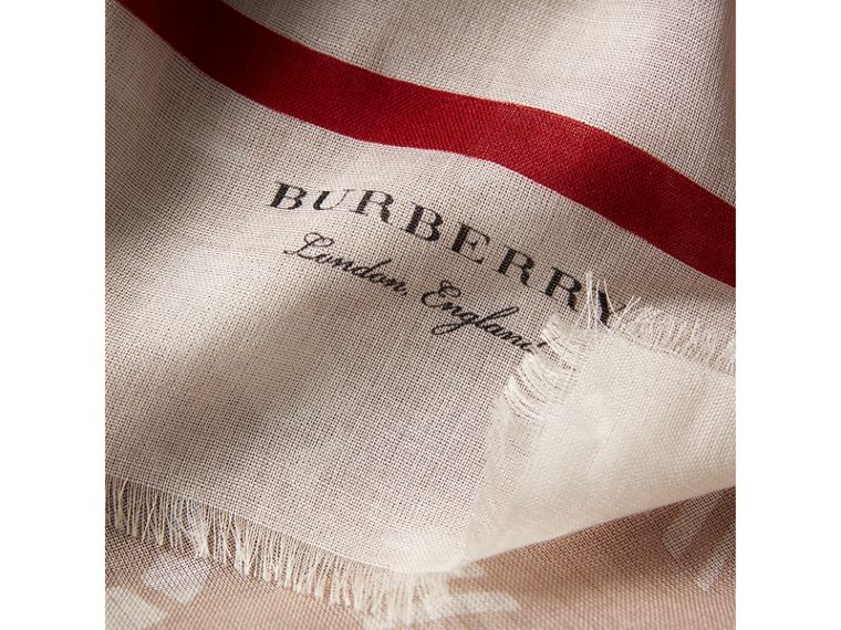 Lace and Breton Stripe Print Cashmere Silk Scarf in Natural White - Women | Burberry - cell image 1