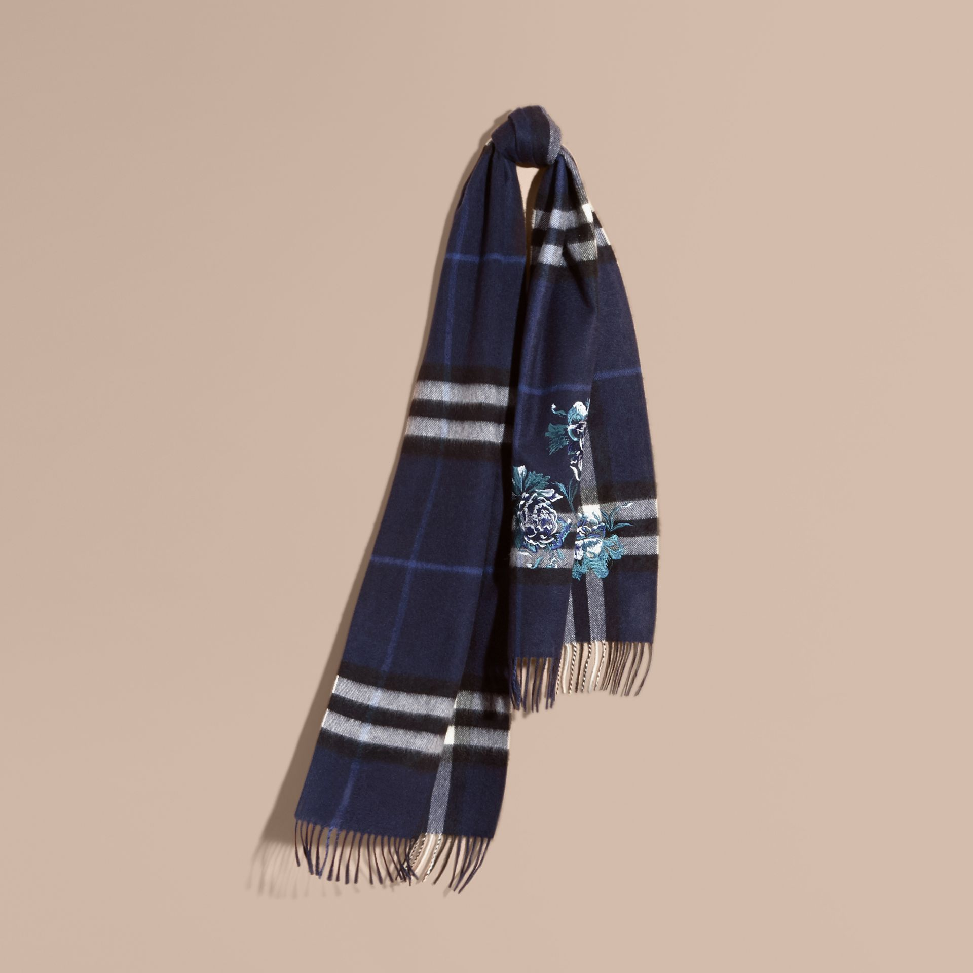 Indigo blue Oversize Peony Rose Embroidered Check Cashmere Scarf - gallery image 6
