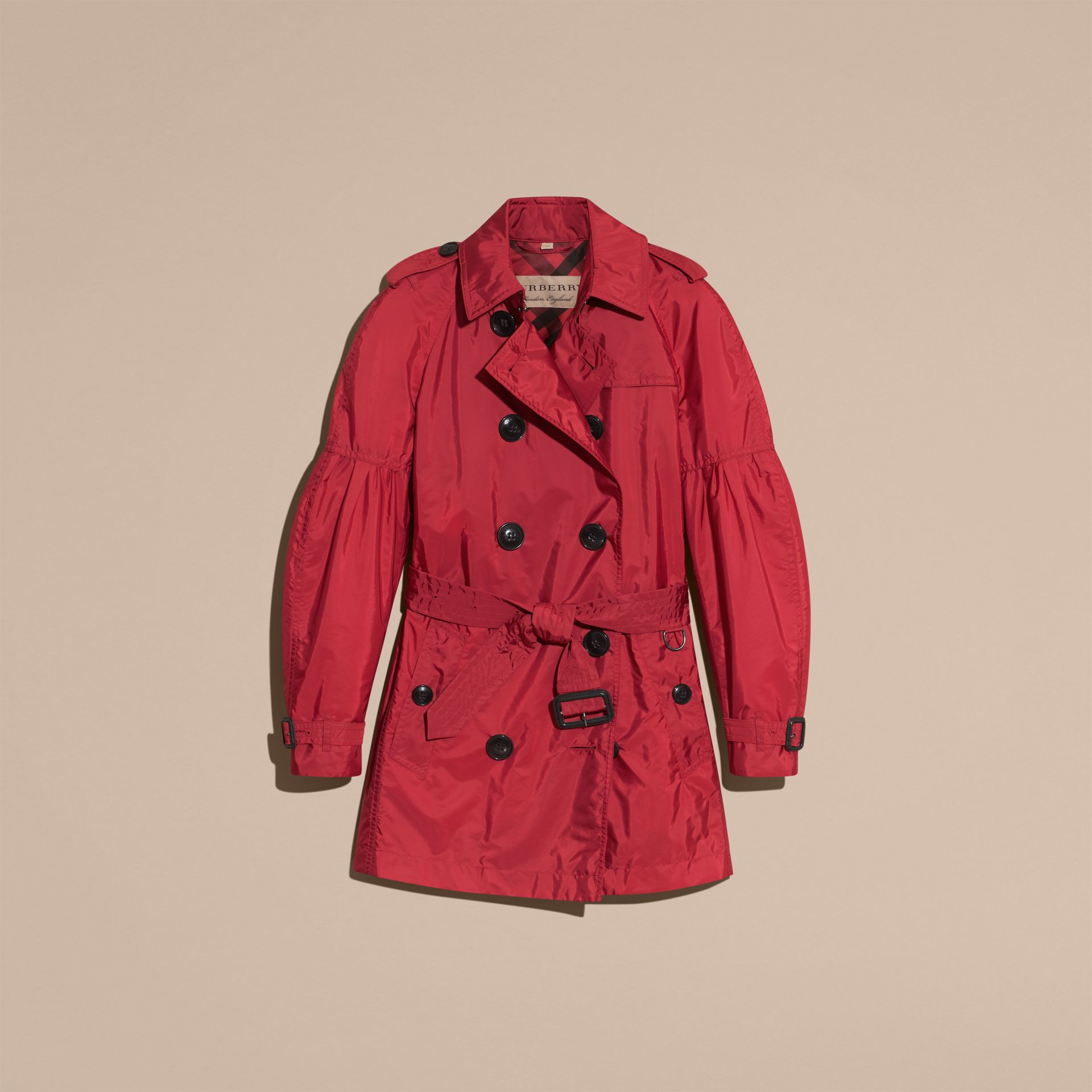 Parade red Packaway Trench Coat with Puff Sleeves - gallery image 4