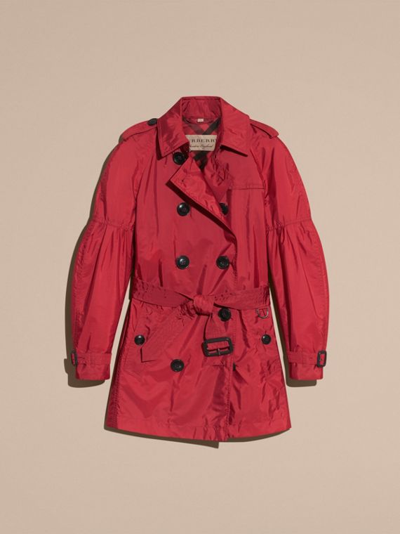 Parade red Packaway Trench Coat with Puff Sleeves - cell image 3