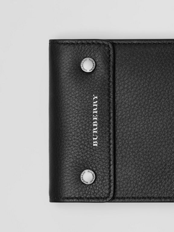 Press-stud Leather International Bifold Wallet in Black - Men | Burberry - cell image 1