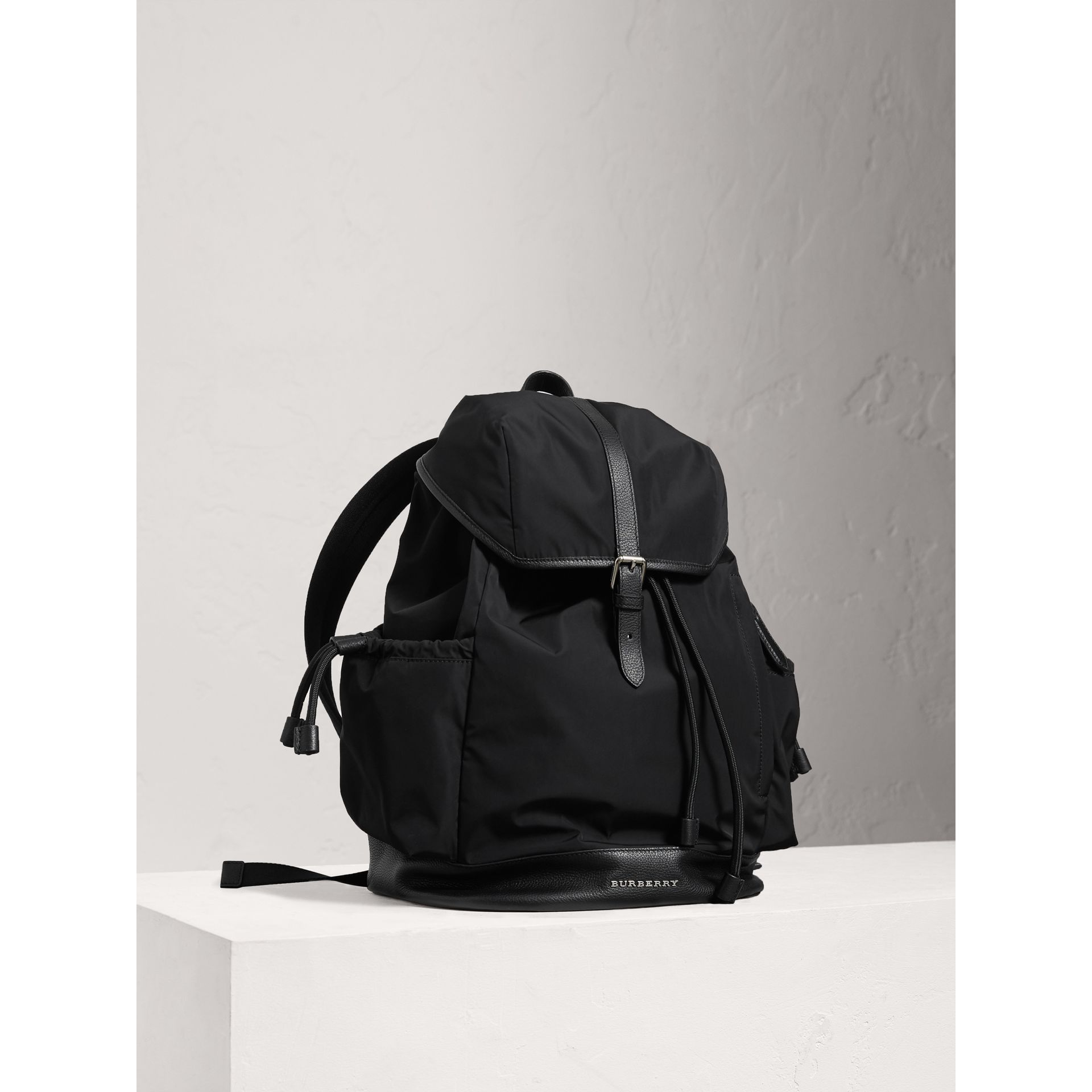 Leather Trim Baby Changing Rucksack in Black - Boy | Burberry - gallery image 0