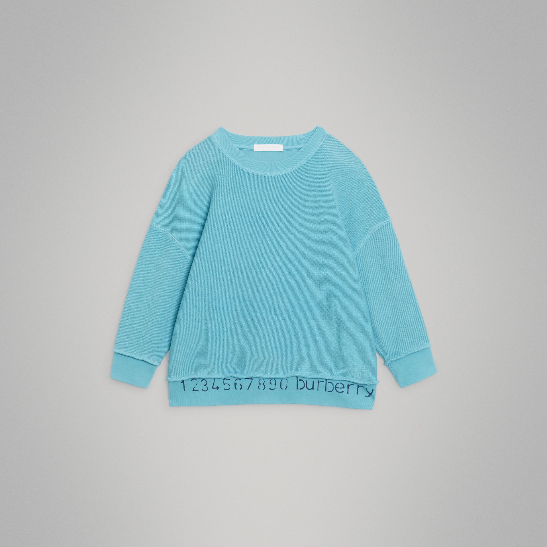 Number Print Cotton Sweatshirt in Bright Cyan Blue | Burberry - gallery image 0