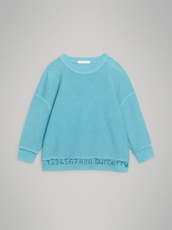 Number Print Cotton Sweatshirt in Bright Cyan Blue