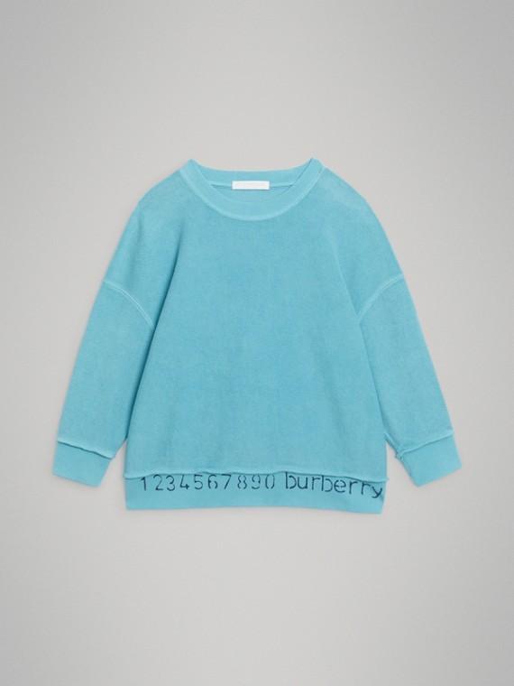 數字印花棉質運動衫 (亮青藍色)