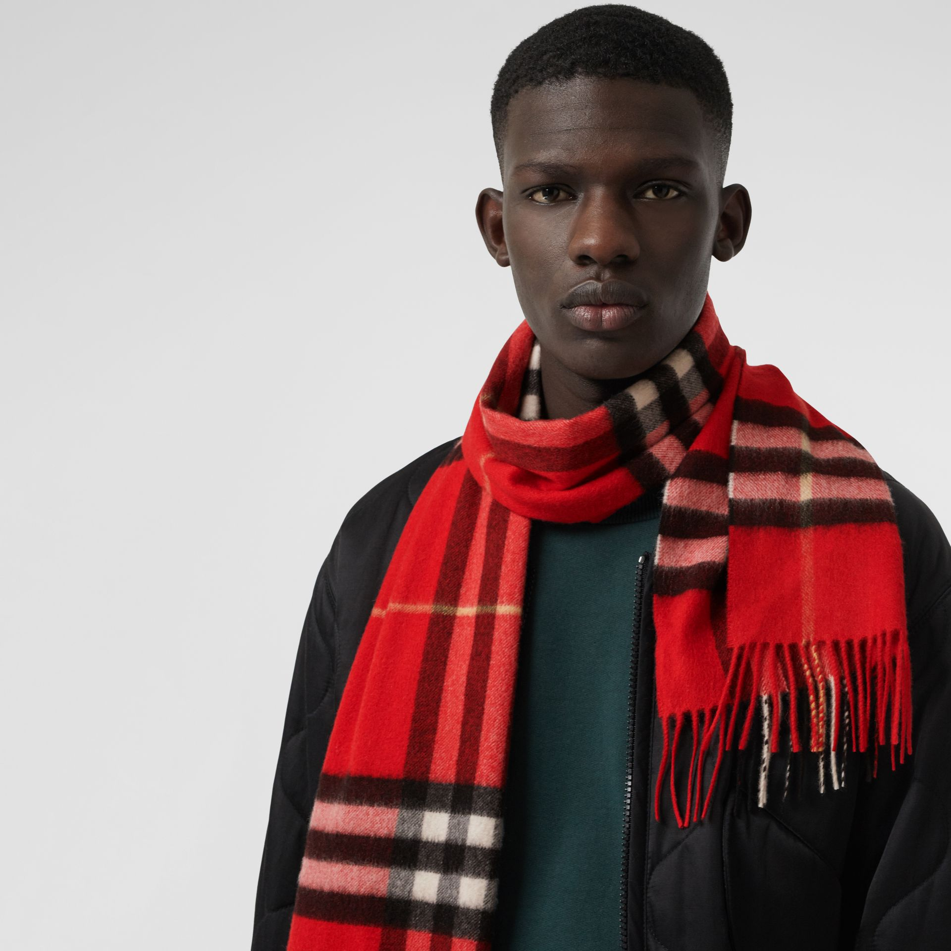 The Classic Check Cashmere Scarf in Bright Military Red | Burberry United Kingdom - gallery image 6