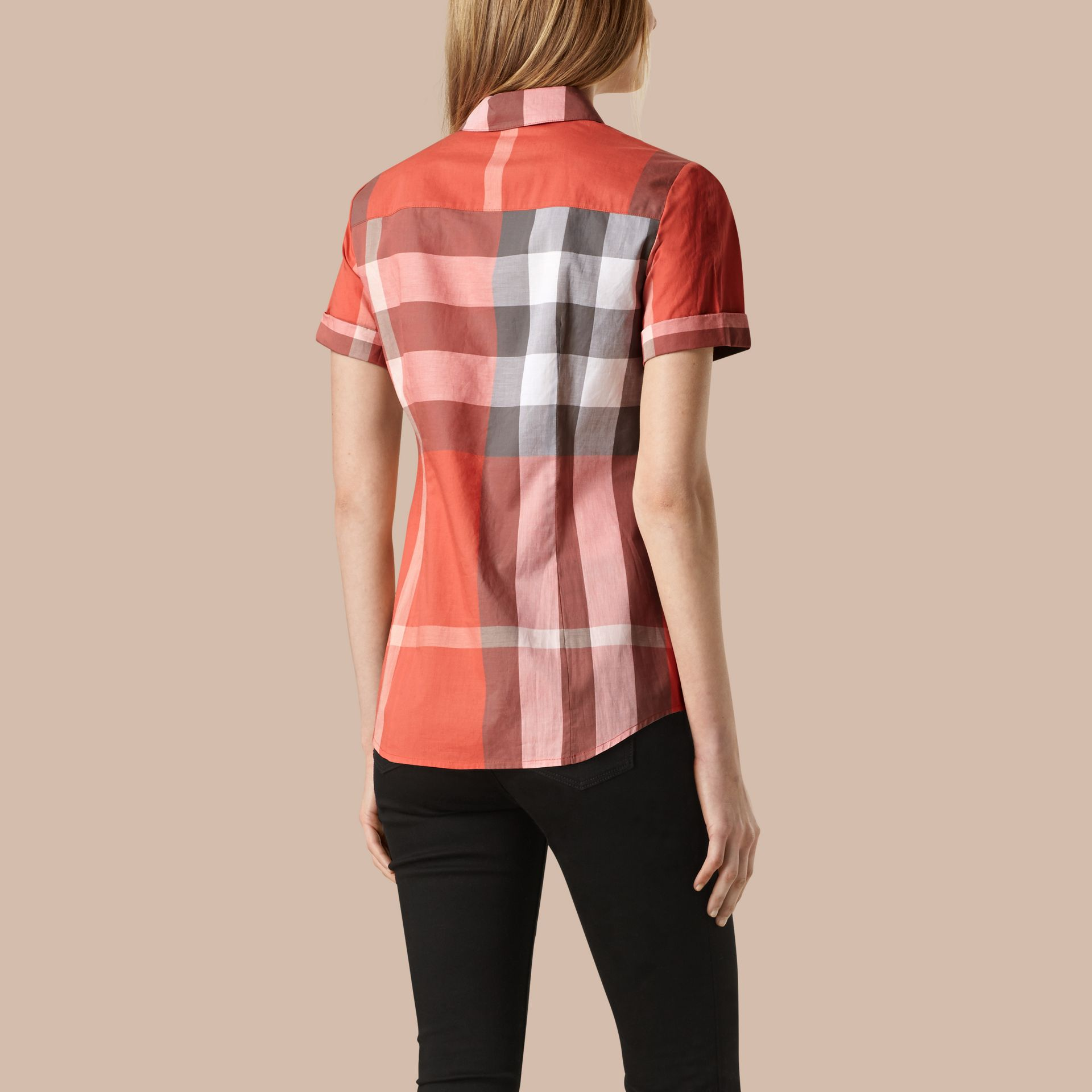 Copper pink Short-sleeved Check Cotton Shirt Copper Pink - gallery image 3