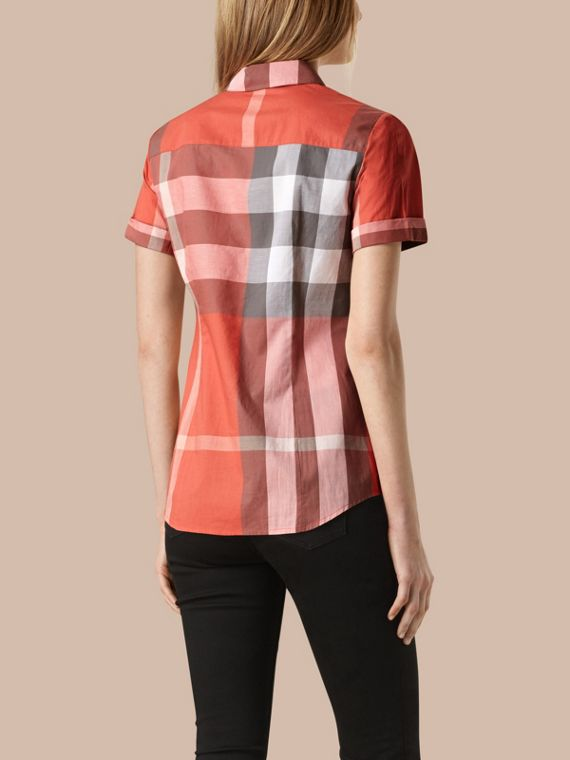Copper pink Short-sleeved Check Cotton Shirt Copper Pink - cell image 2