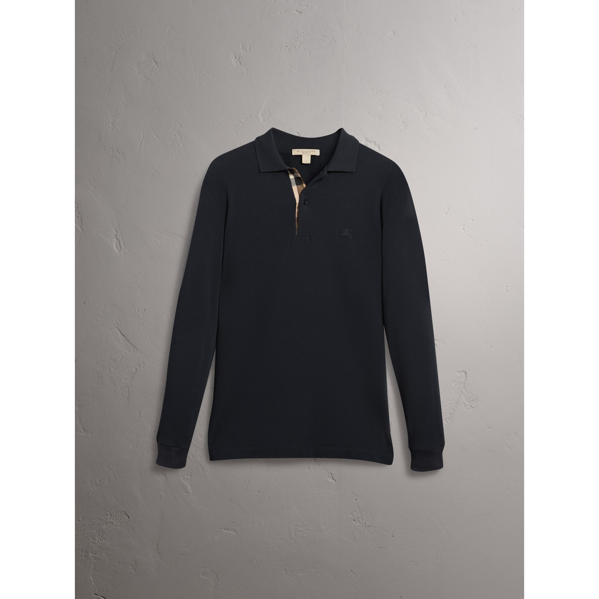 Check Placket Long Sleeve Polo Shirt in Black - Men | Burberry - gallery image 4