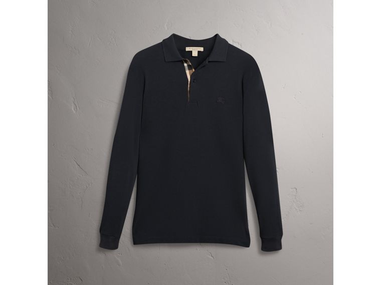 Check Placket Long Sleeve Polo Shirt in Black - Men | Burberry - cell image 4