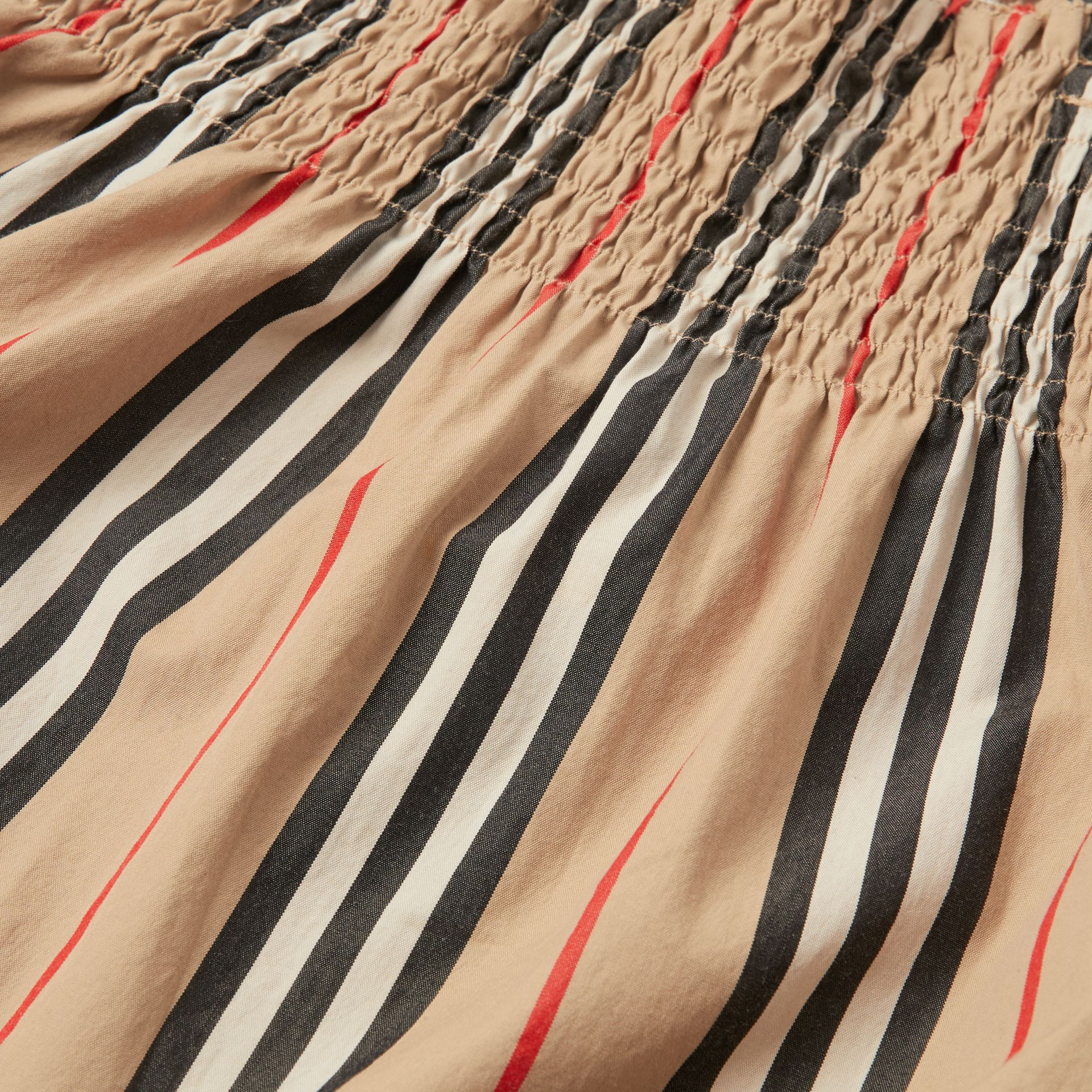 Smocked Icon Stripe Cotton Dress in Archive Beige | Burberry - gallery image 1