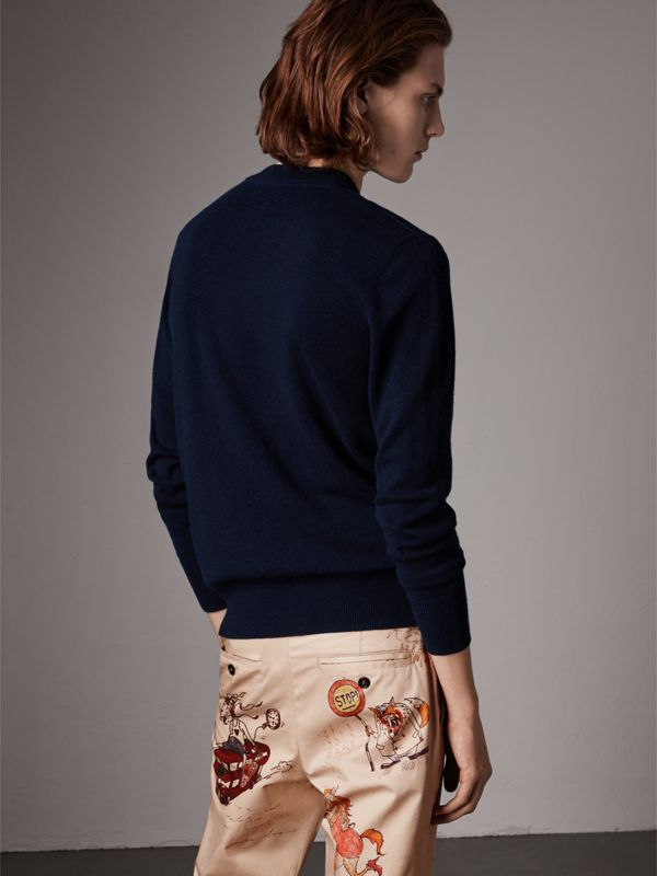 Cashmere V-neck Sweater in Navy - Men | Burberry United Kingdom - cell image 2