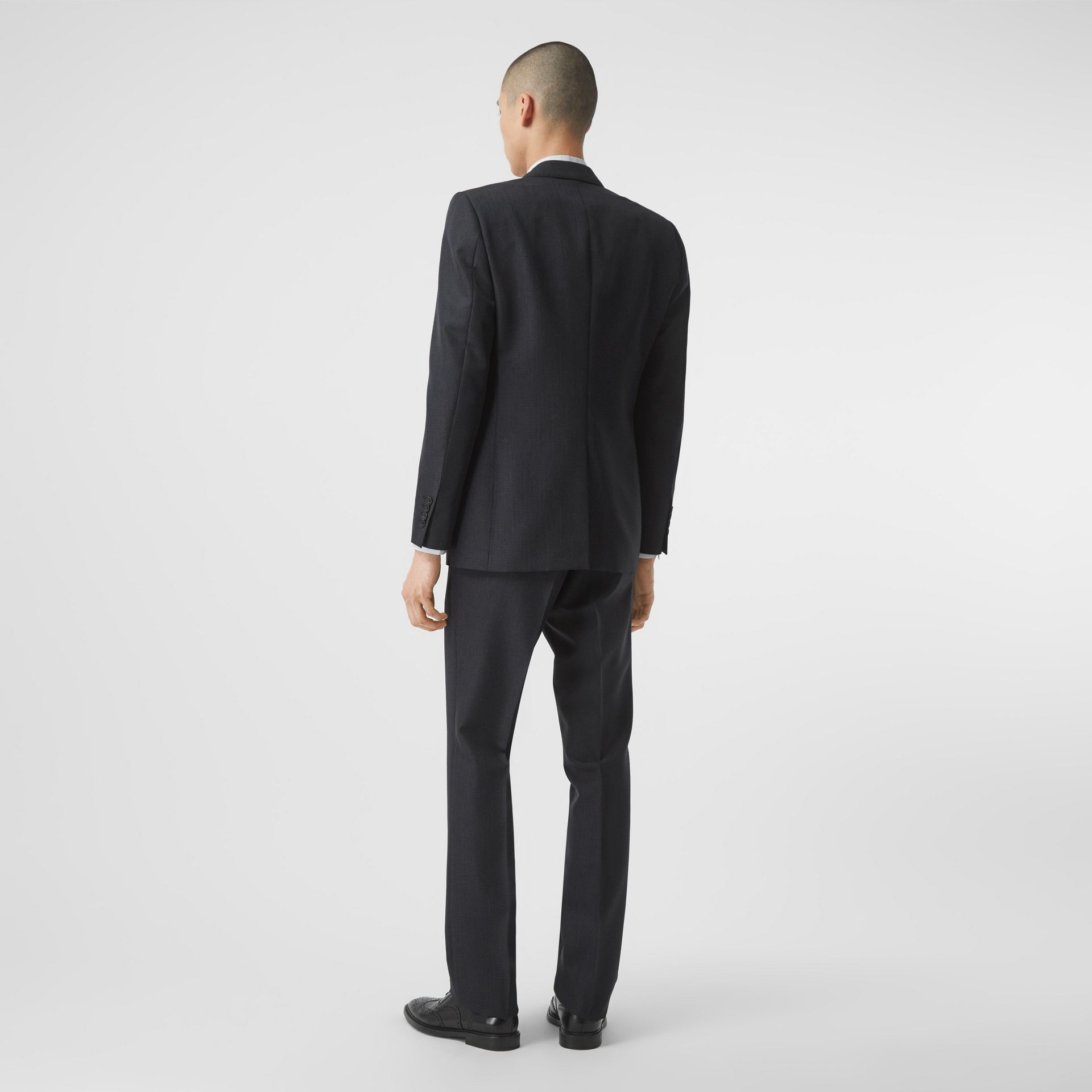Classic Fit Puppytooth Check Wool Mohair Suit in Navy - Men | Burberry - gallery image 2