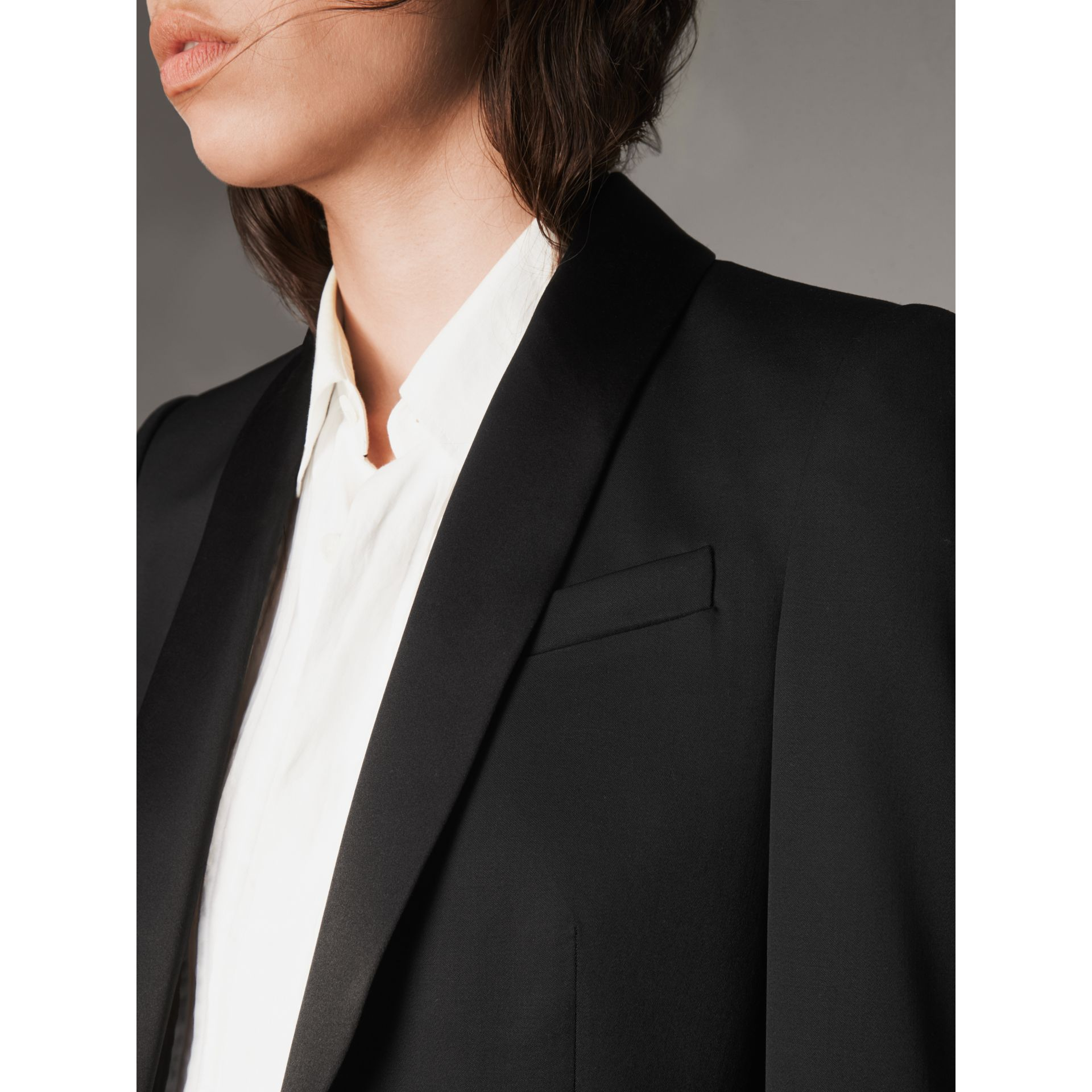 Stretch Wool Tuxedo Jacket in Black - Women | Burberry - gallery image 2