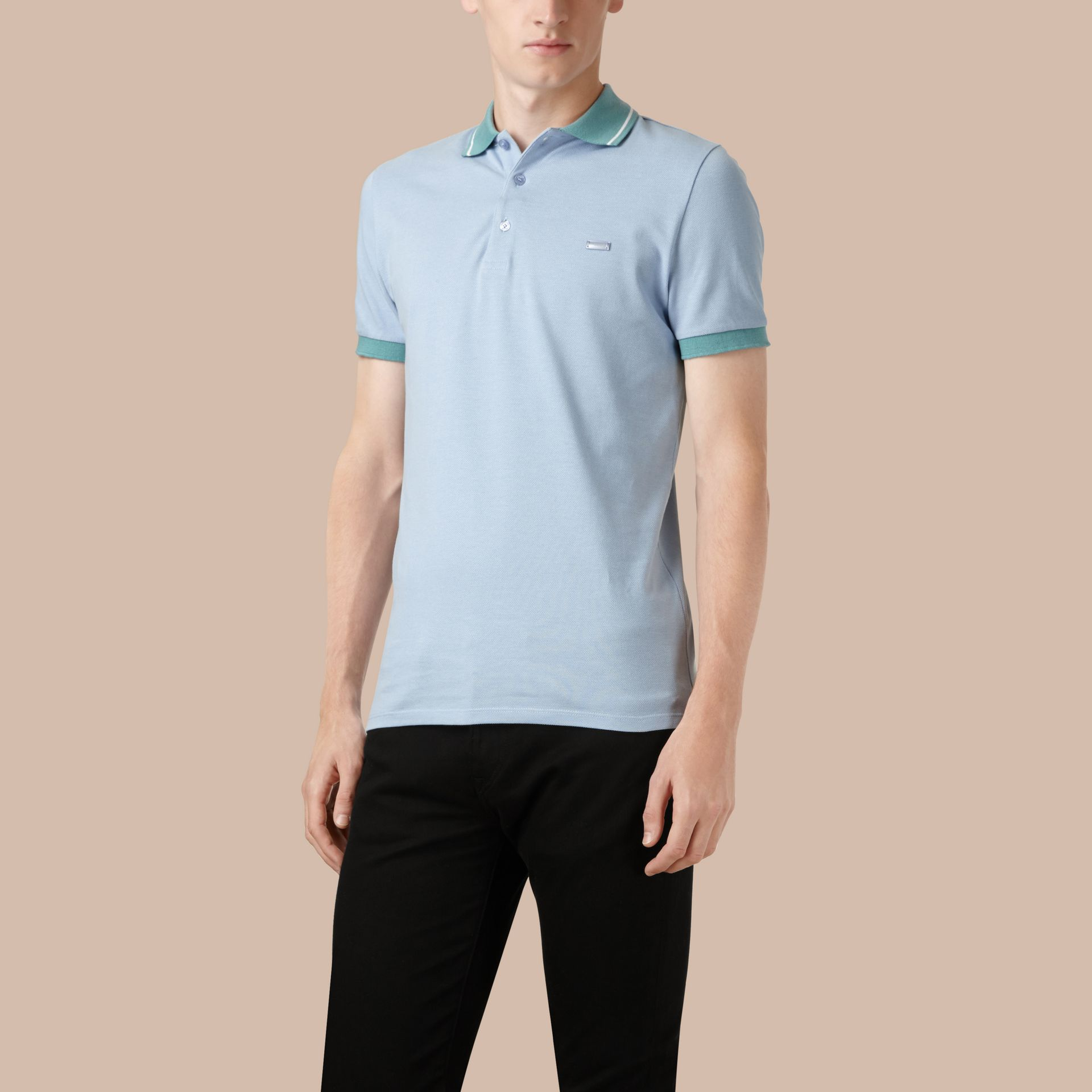Sky blue/white Contrast Trim Cotton Piqué Polo Shirt Sky Blue/white - gallery image 1