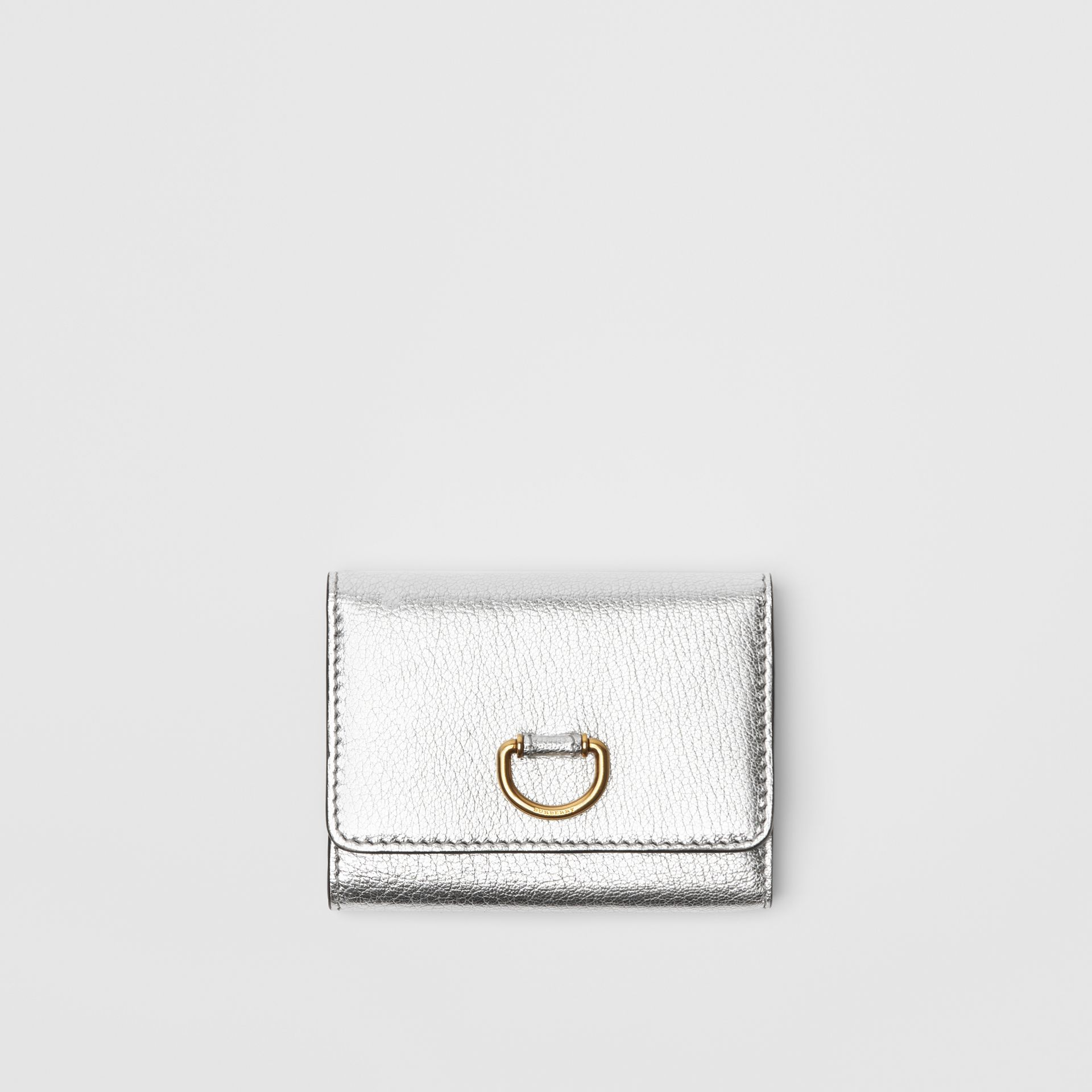 Small D-ring Metallic Leather Wallet in Silver - Women | Burberry United Kingdom - gallery image 0