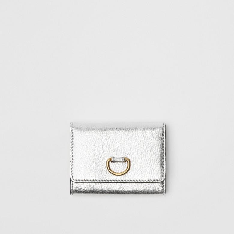 Burberry - Petit portefeuille en cuir métallisé avec boucle en D - 1