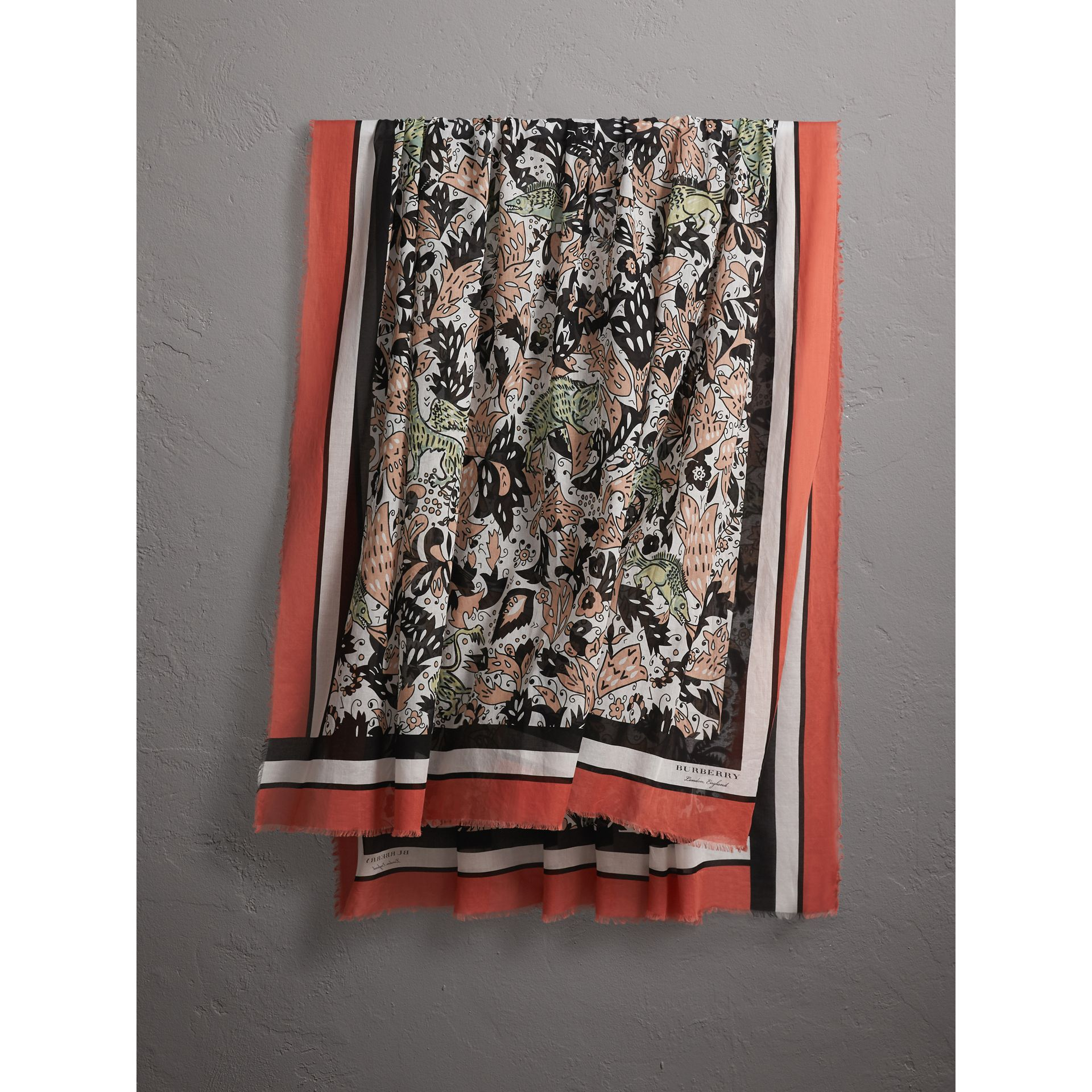 Beasts Print Lightweight Cotton Scarf in Antique Taupe Pink - Women | Burberry - gallery image 1