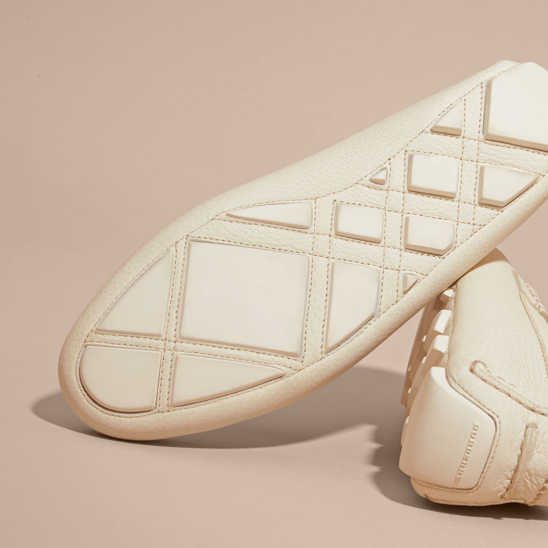 Tasselled Grainy Leather Loafers in Off White - gallery image 5