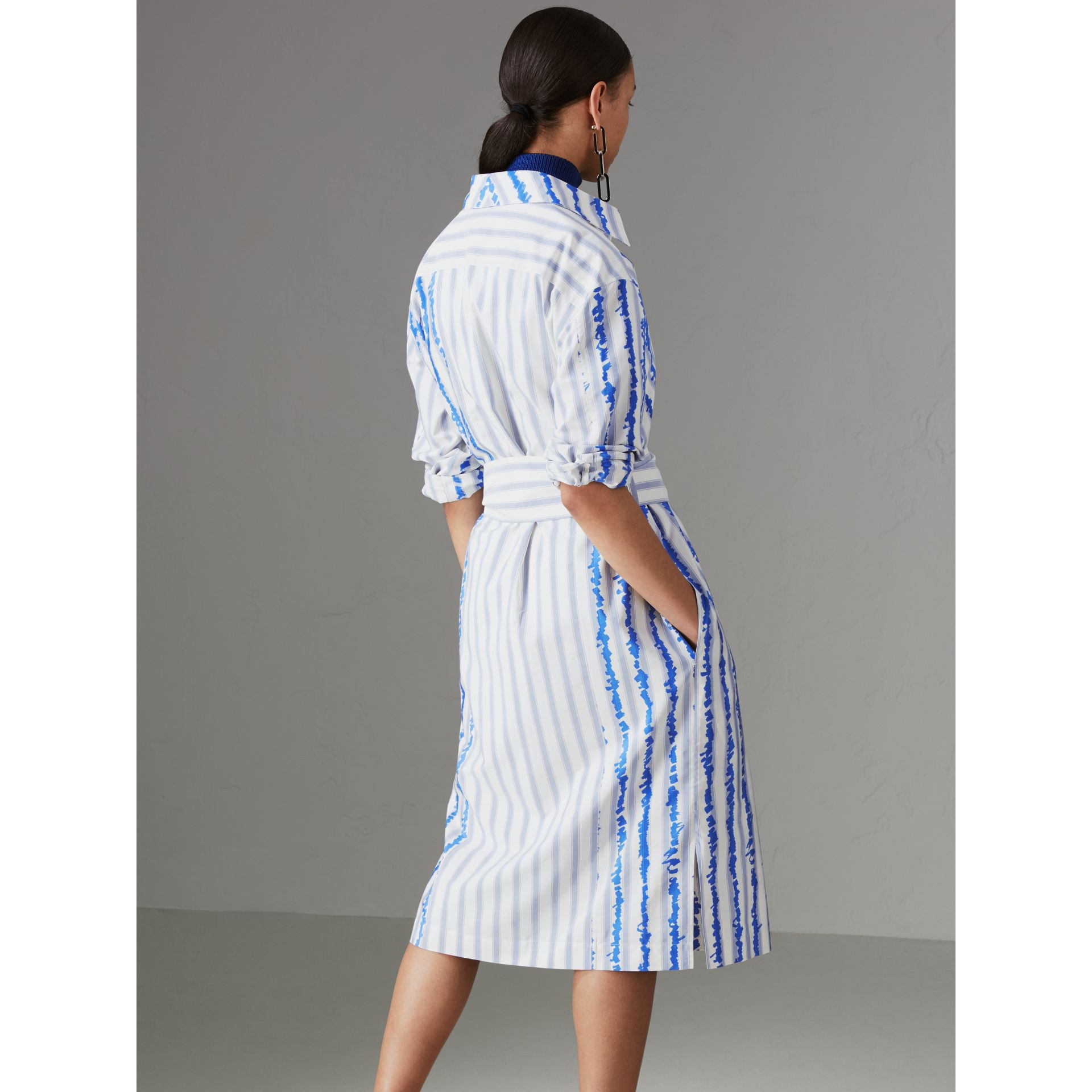 Scribble Stripe Silk Cotton Shirt Dress in Navy - Women | Burberry - gallery image 2