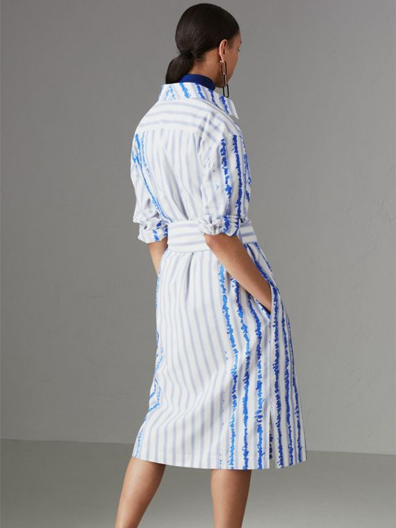 Scribble Stripe Silk Cotton Shirt Dress in Navy - Women | Burberry - cell image 2