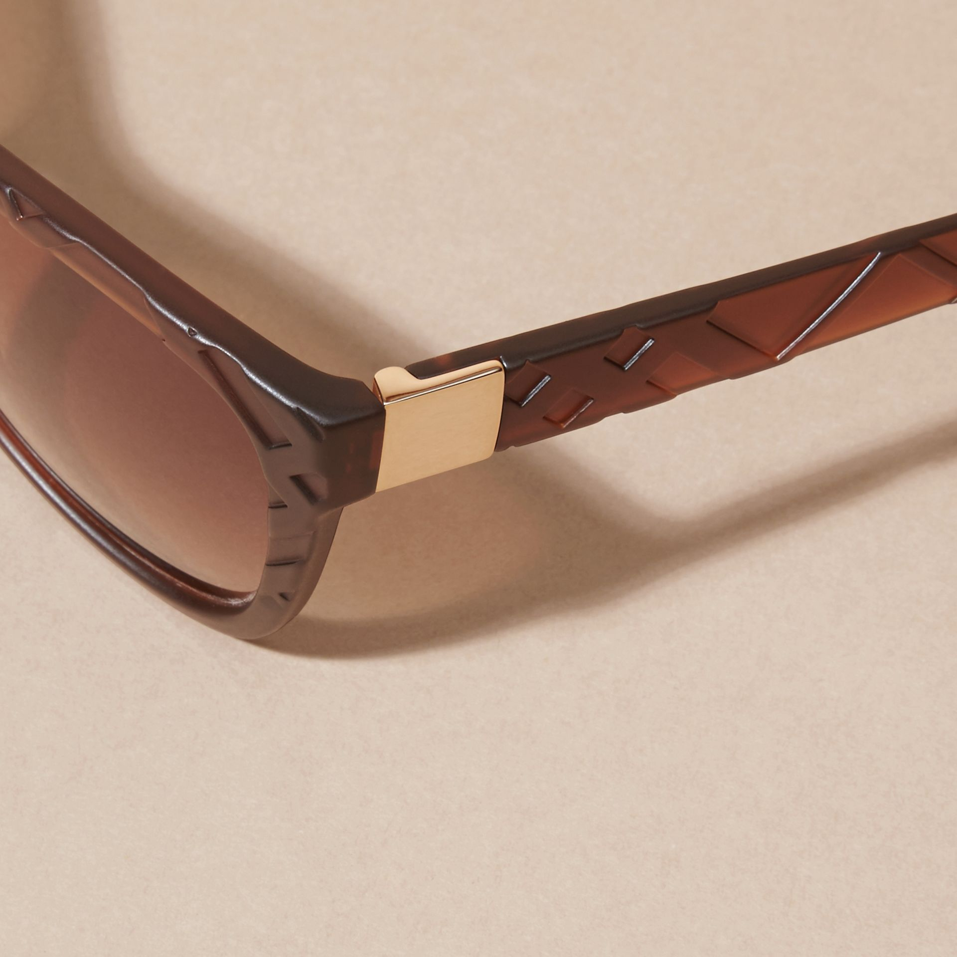 Brown 3D Check Square Frame Sunglasses Brown - gallery image 4