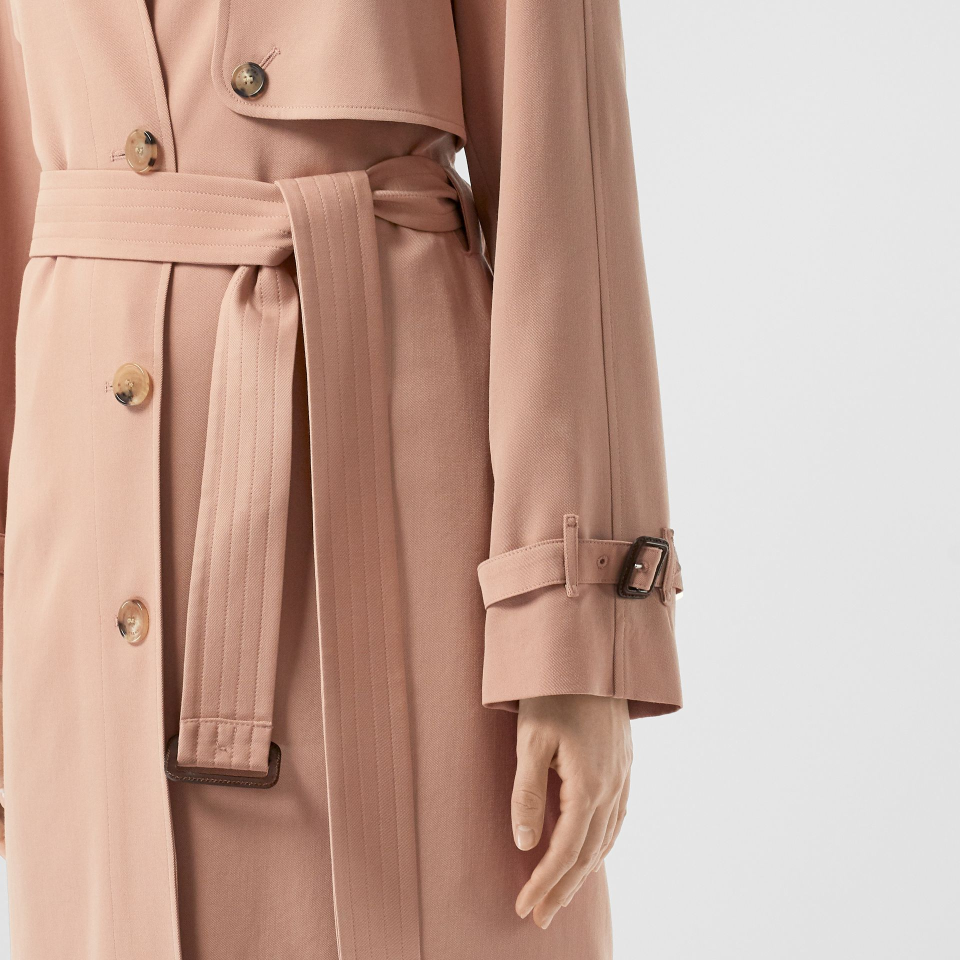 Wool Gabardine Trench Coat in Blush Pink - Women | Burberry - gallery image 4