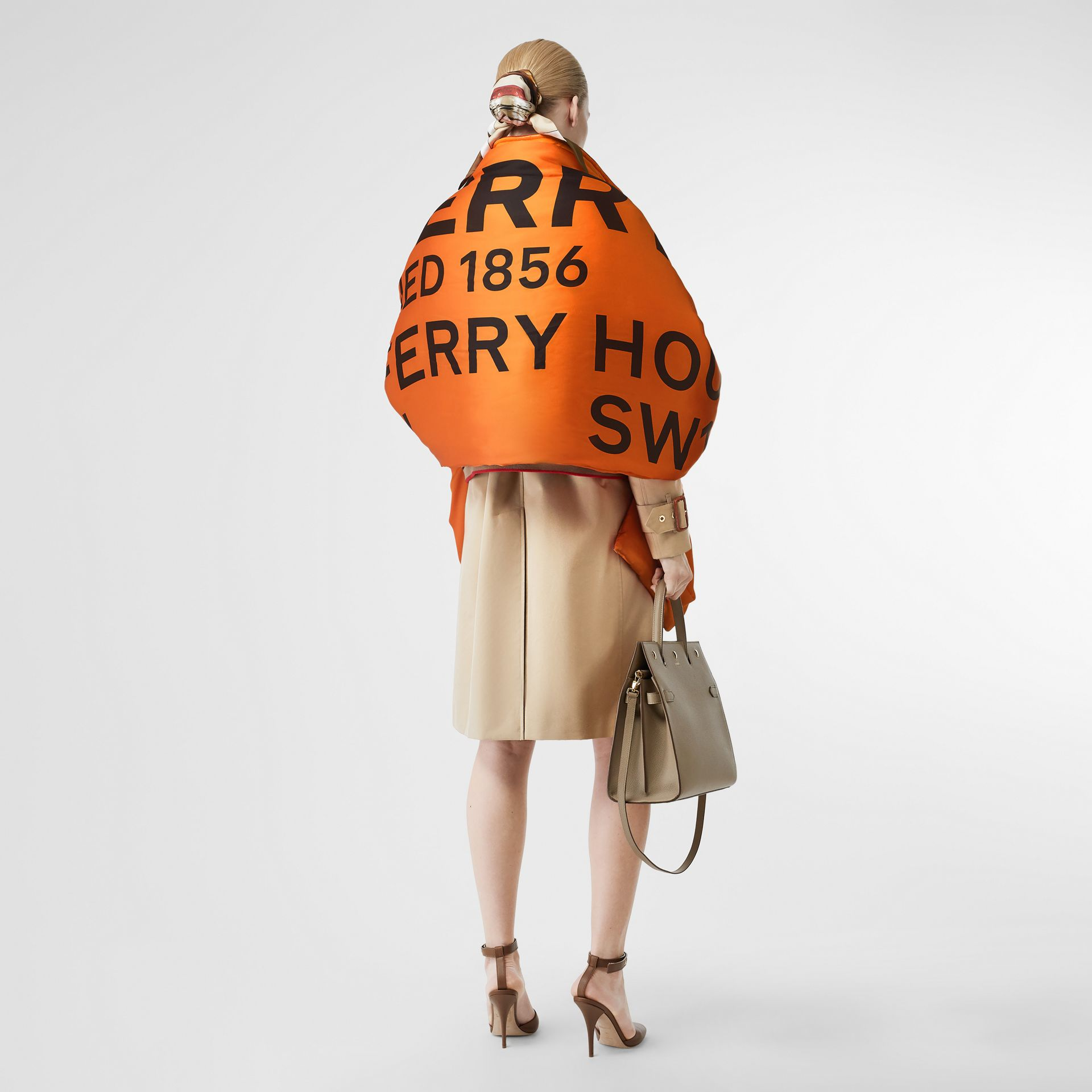 Horseferry Print Silk Puffer Scarf in Orange/black | Burberry Singapore - gallery image 2