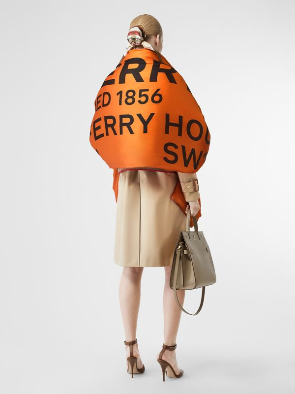 Horseferry Print Silk Puffer Scarf in Orange/black | Burberry Singapore - cell image 2