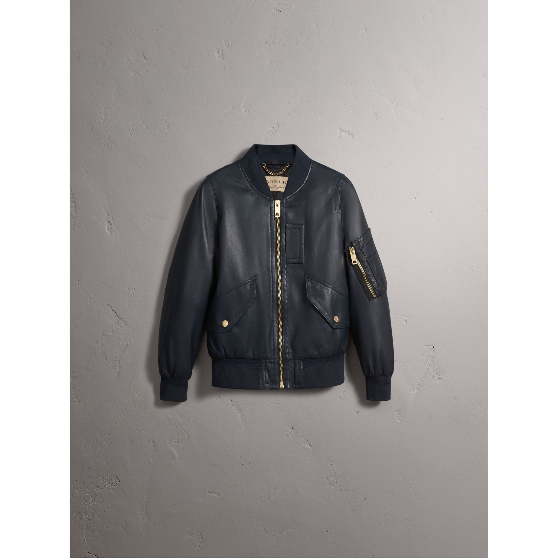 Lightweight Lambskin Bomber Jacket in Navy - Women | Burberry United States - gallery image 3