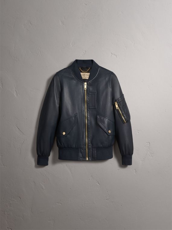 Lightweight Lambskin Bomber Jacket in Navy - Women | Burberry - cell image 2