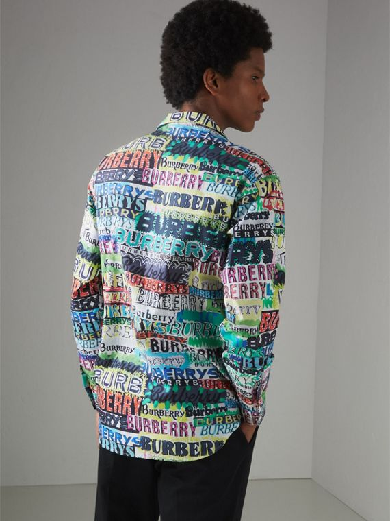 Graffiti Logo Print Cotton Shirt in Bright Green - Men | Burberry - cell image 2