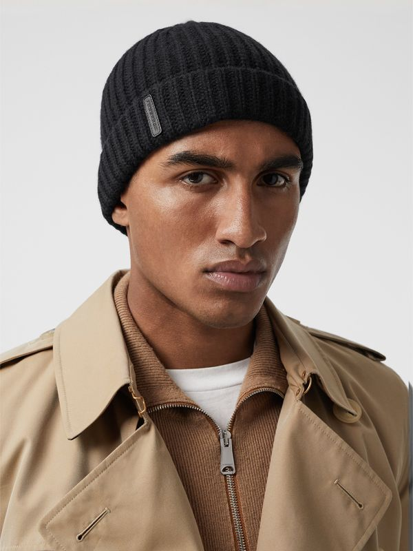 Rib Knit Cashmere Beanie in Black | Burberry Australia - cell image 3
