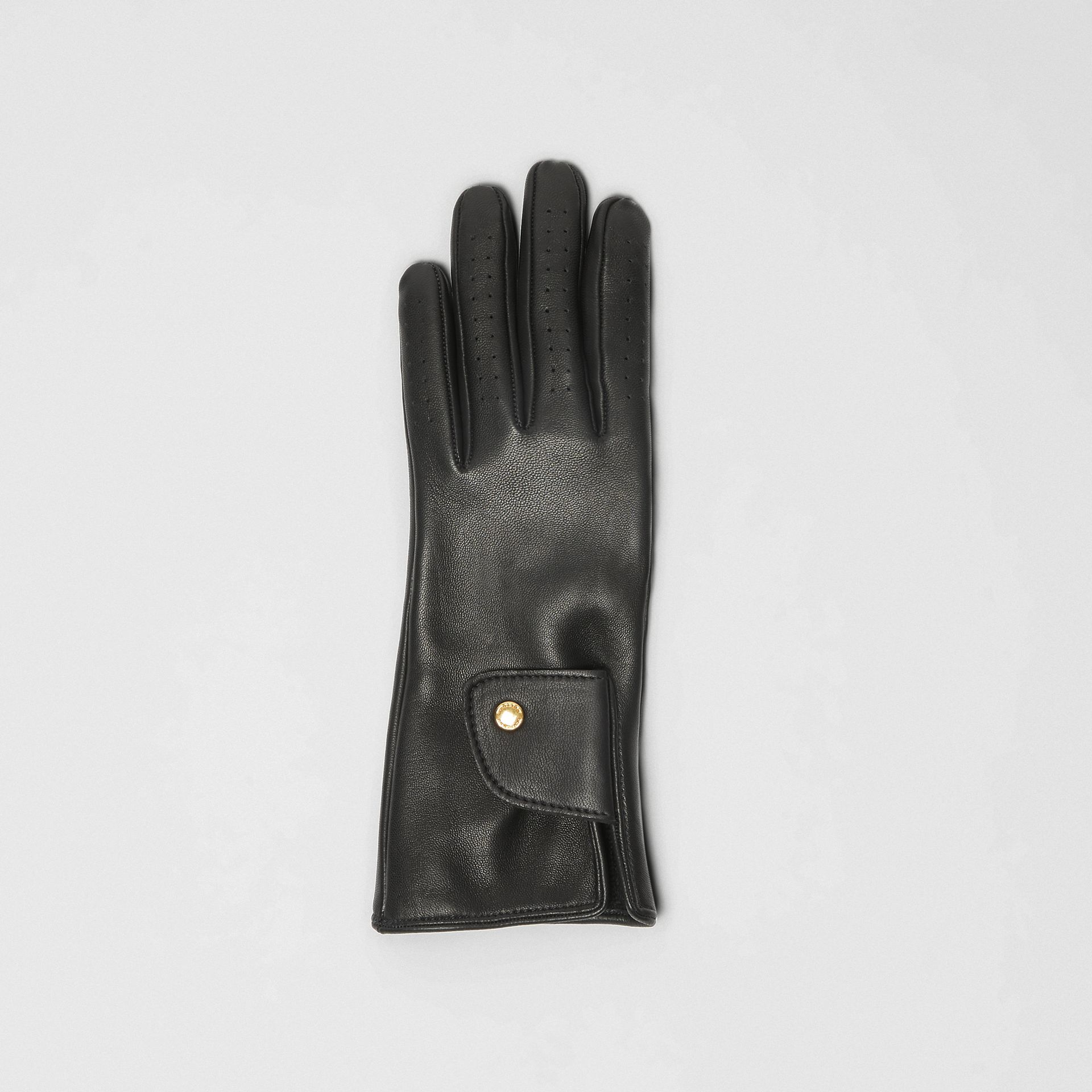 Cashmere-lined Lambskin Gloves in Black | Burberry - gallery image 2