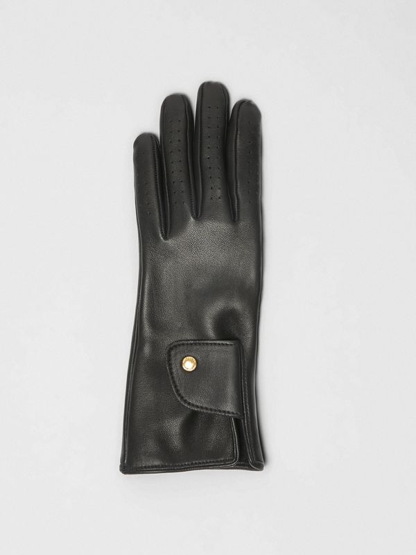 Cashmere-lined Lambskin Gloves in Black | Burberry Canada - cell image 2