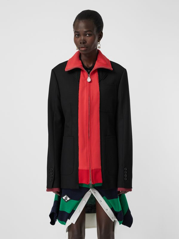 Track Top Detail Wool Twill Tailored Jacket in Black - Women | Burberry - cell image 3