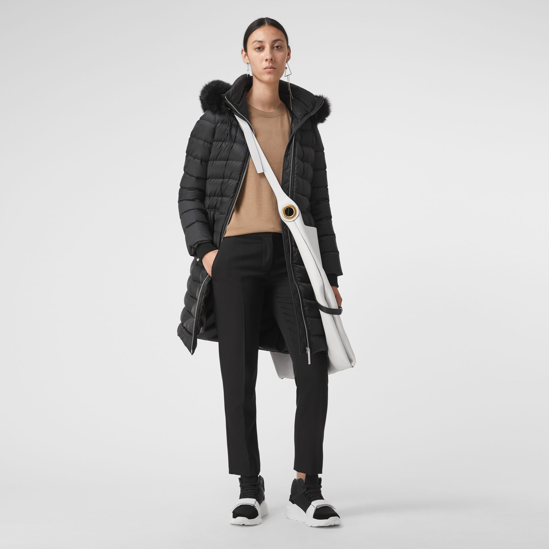 Detachable Shearling Trim Down-filled Puffer Coat in Black - Women | Burberry Singapore - gallery image 0