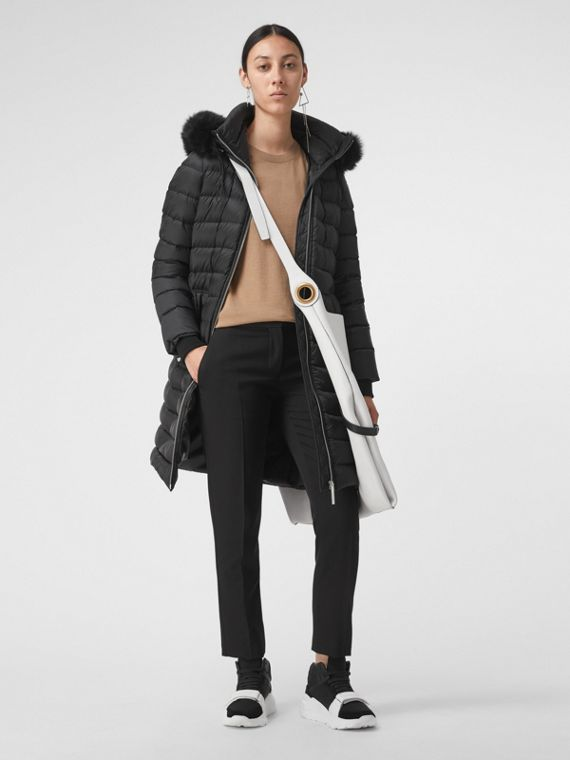 Detachable Shearling Trim Down-filled Puffer Coat in Black